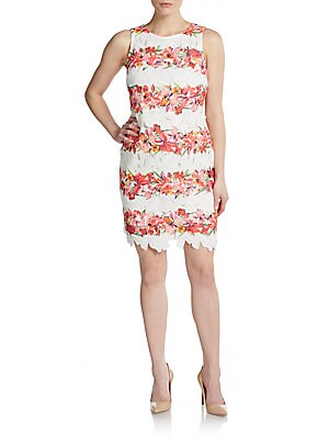 Embroidered Floral-Stripe Dress