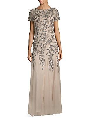 Floral Beaded Floor-Length Gown