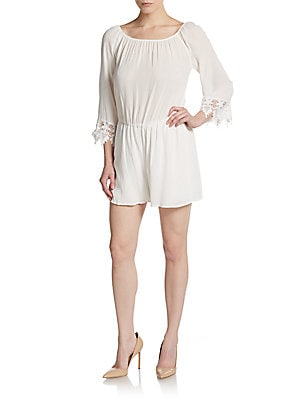 Three-Quarter Sleeve Short Romper With Lace