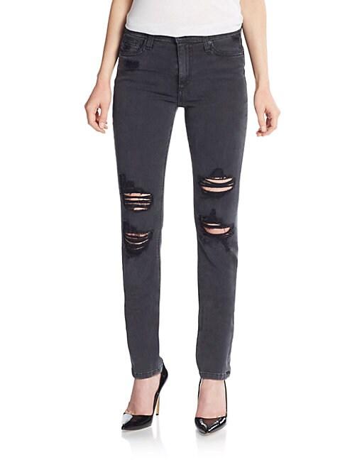 Joe's Rhea Distressed High-Rise Skinny Jeans