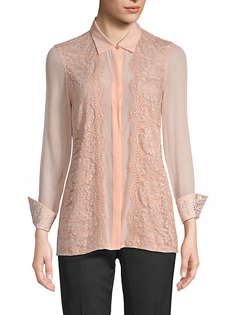 Robert Graham CARINA SILK-BLEND EMBROIDERY SHIRT