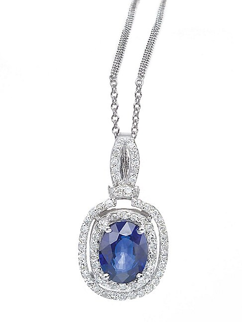 14K Sapphire and Diamond Pendant in White Gold