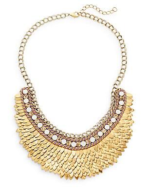 Austrian Crystal & Suede Feather Bib Necklace/Goldtone