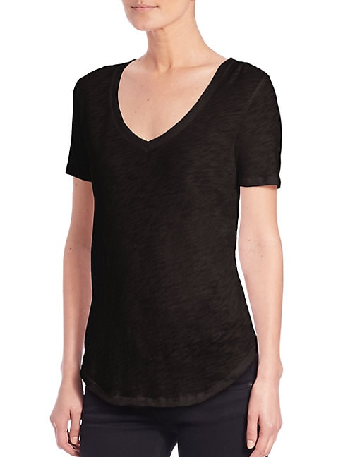 Cotton Slub V-neck Tee