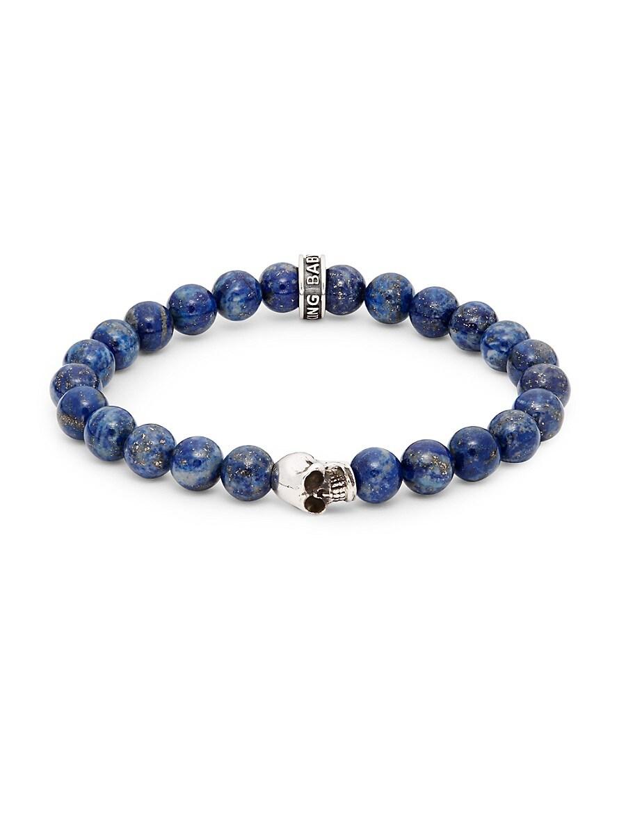 Men's Lapis Bead Skull Bracelet
