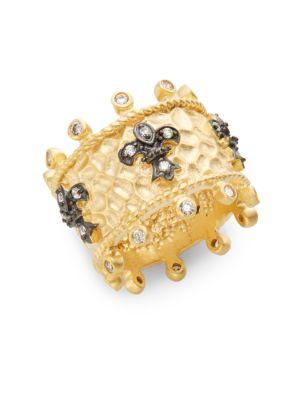 Freida Rothman Jewelries White Stone & 14K Yellow Gold Vermeil Fleur De Lis Ring