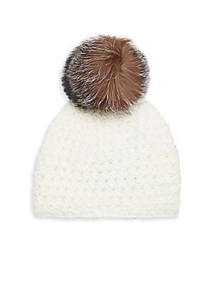 6aa3ad911cf Surell - Fox Fur Pom-Pom Hat