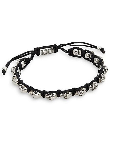 Skull Macrame Bracelet/Silvertone
