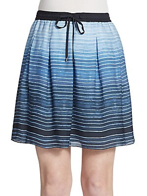Ombre Stripe Silk Skirt
