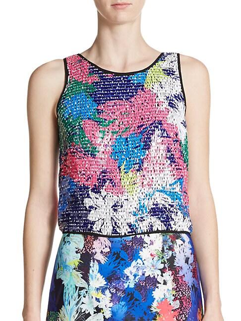 Floral-Print Paillette Silk Crop Top