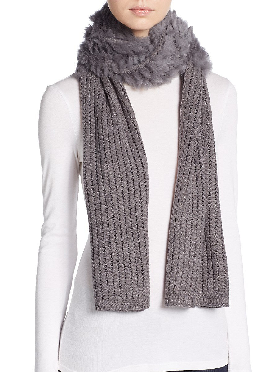 Women's Dyed Rabbit Fur-Accent Knit Scarf