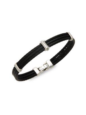 Alor Noir Diamond, 18K White Gold & Black Stainless Steel Bracelet