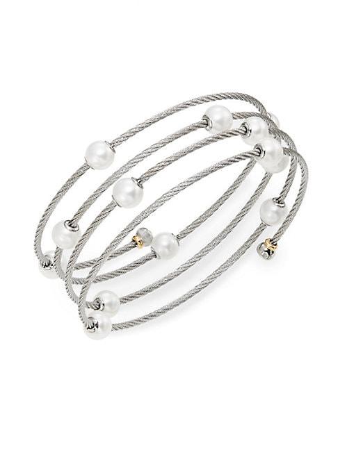 Alor CLASSIQUE 1.6MM WHITE ROUND FRESHWATER PEARL, 18K WHITE GOLD & STAINLESS STEEL BRACELET