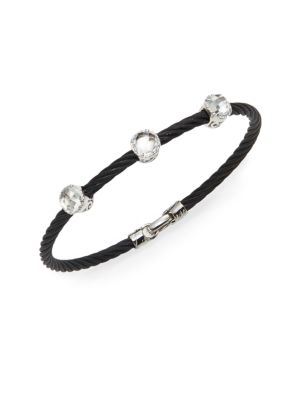 Alor Noir White Topaz, 18K White Gold & Black Stainless Steel Bangle Bracelet
