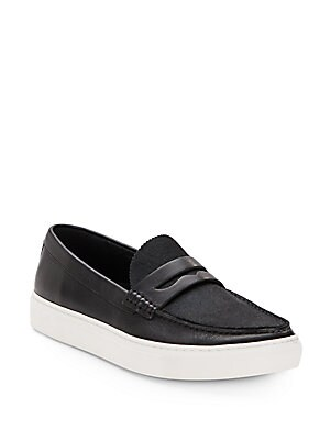Luke Leather & Calfhair Flatform Loafers