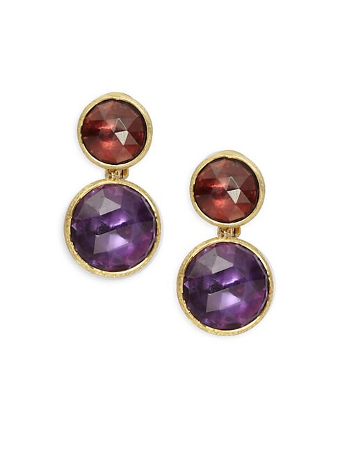 Jaipur Garnet, Amethyst & 18K Gold Earrings