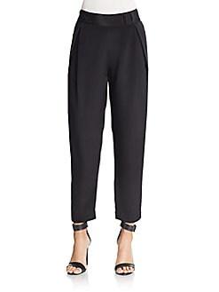 Silk Pleated Straight-Leg Pants, 0400088686730