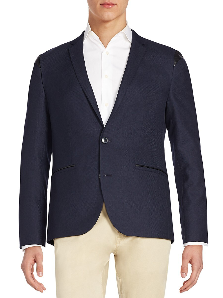 Men's Adgert Regular-Fit Faux Leather-Trim Sportcoat