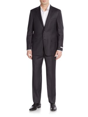 Classic B Fit Check Wool & Cashmere Suit in Charcoal