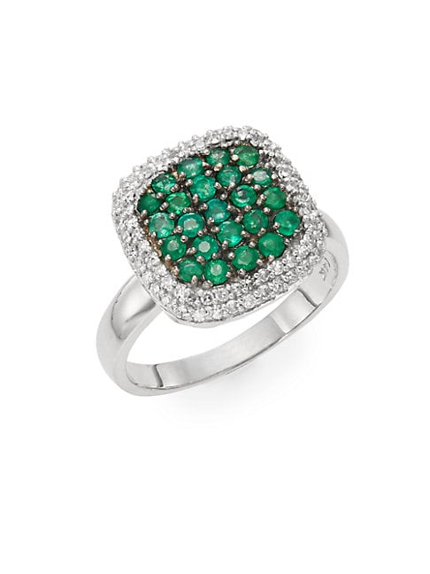 Emerald, Diamond & 14K White Gold Ring