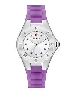 Michele - Tahitian Jelly Bean Purple Topaz, Stainless Steel & Silicone Petite Bracelet Watch