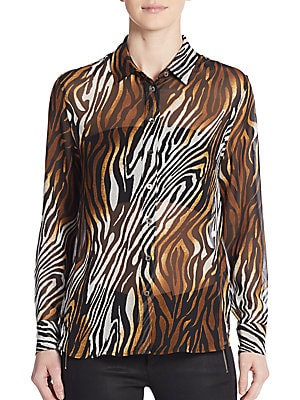 Leema Silk Animal-Print Blouse