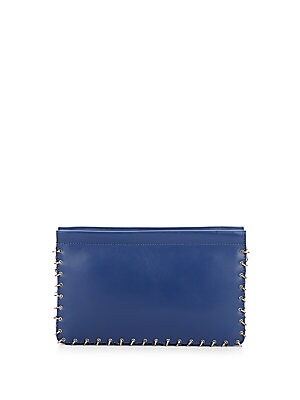 Lenox Chain-Trimmed Leather Clutch