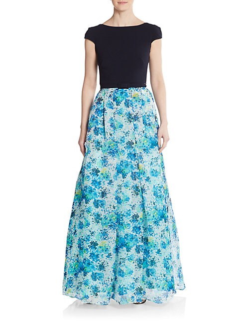 Blocked Floral A-Line Gown