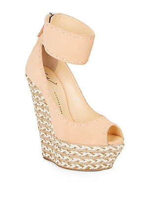 Suede & Jute Peep-Toe Platform Wedge Sandals