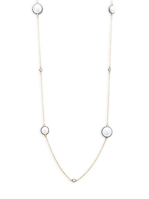 CLASSIC WHITE PEARL & STUDDED STERLING SILVER STATION NECKLACE