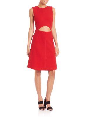 SUNO Cutout A-Line Dress in Red