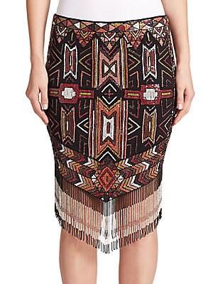 Apache Embellished Fringe Skirt