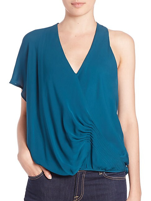 One-Shoulder Silk Blouse