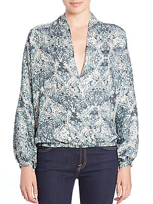 Silk Faux-Wrap Blouse