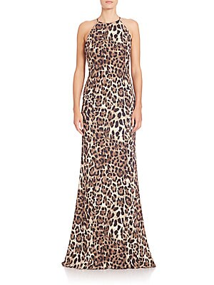 Leopard-Print Halter Gown