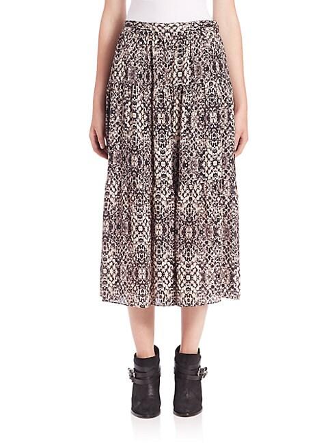 Snake-Print Silk Midi Skirt