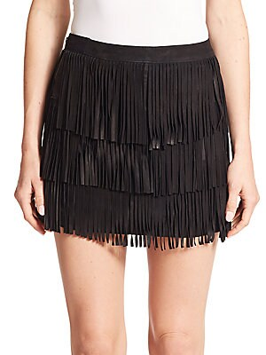 Lavana Tiered Fringe Suede Mini Skirt