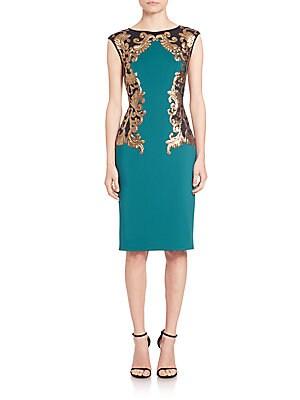 Metallic Scroll-Embellished Sheath Dress