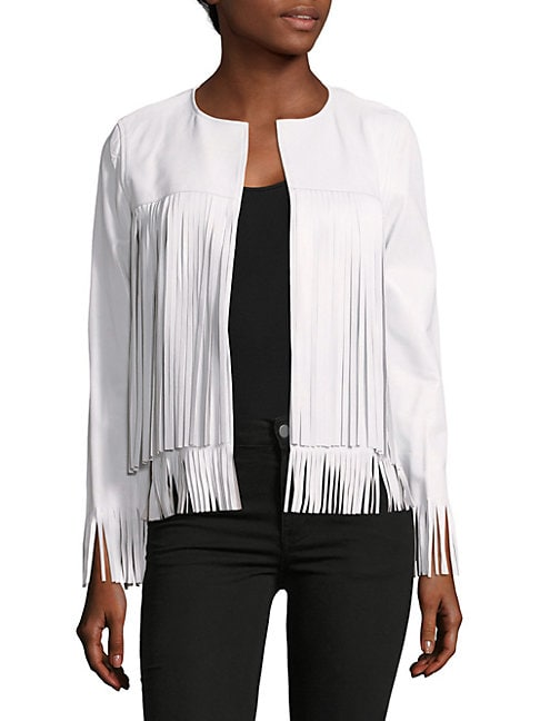 Theperfext APRIL SOLID FRINGED LEATHER JACKET