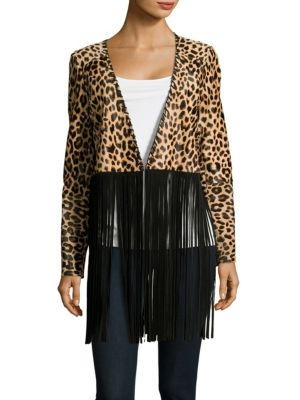 THEPERFEXT Christy Suede Fringe Jacket in Leopard