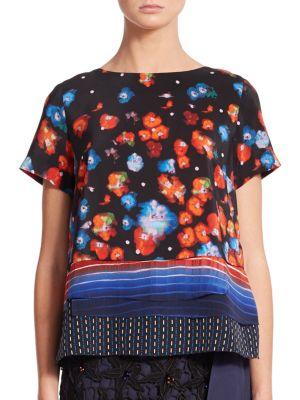 Suno Tiered Printed Silk Top