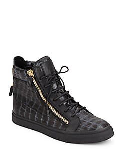 Embossed Leather Two Zip HighTop Sneakers SILVER Product image QUICKVIEW Giuseppe Zanotti