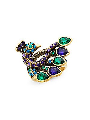 Fabulous Feather Peacock Cocktail Ring