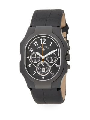 PHILIP STEIN Classic Chronograph Stainless Steel & Leather Watch in Black