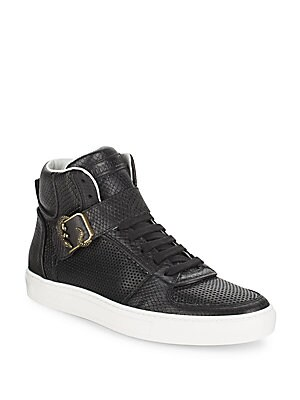 SNAKE-EMBOSSED LEATHER HIGH TOP SNEAKERS
