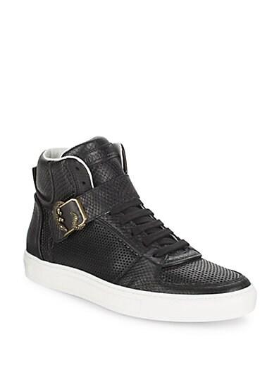 Roberto Cavalli Snake-Embossed Leather High Top Sneakers ... 1472b626d