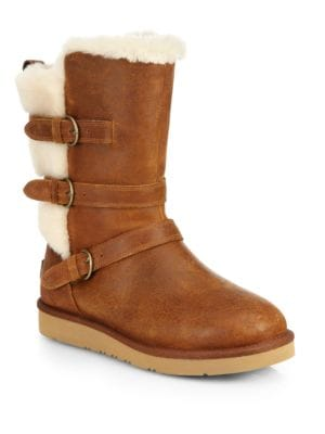 60ef46b9261 Becket Leather & Faux Shearling Mid-Calf Boots