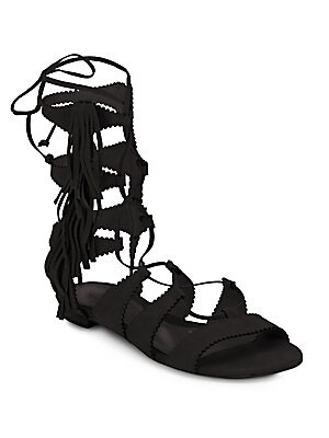 Sonya Suede Lace-Up Sandals