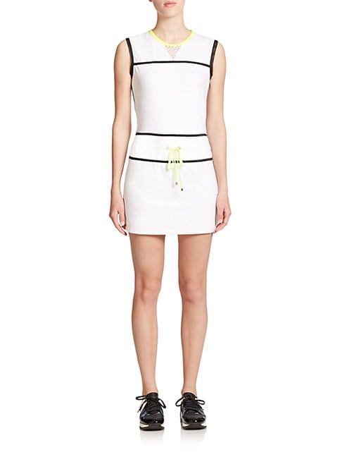 Sleeveless Mesh-Detail Mini Dress