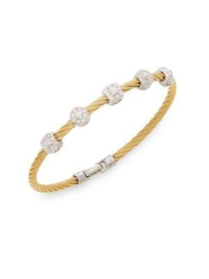 Alor Diamond, 18K Yellow Gold & Steel Coil Bracelet